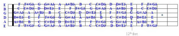 Fretboard with All strings labelled